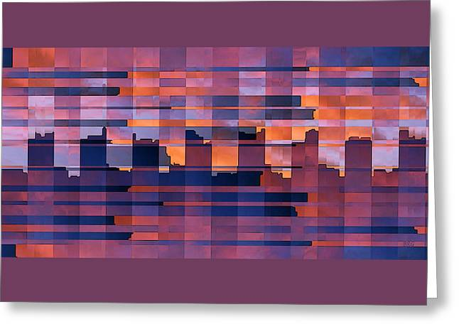 Red Coral Greeting Cards - Sunset City Greeting Card by Ben and Raisa Gertsberg