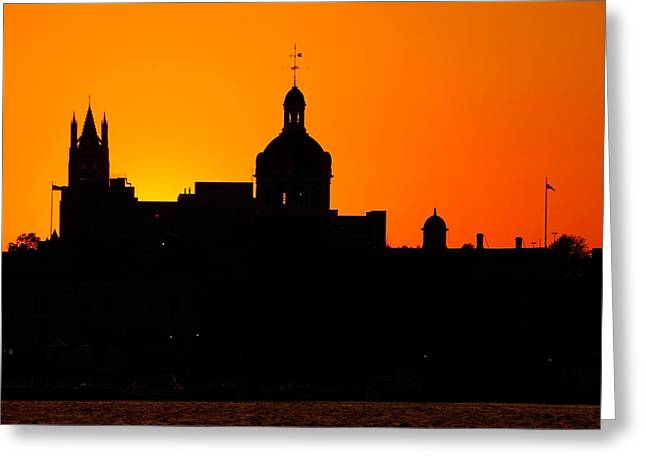 Kingston City Hall Greeting Cards - Sunset City Semi-Silhouette Greeting Card by Paul Wash