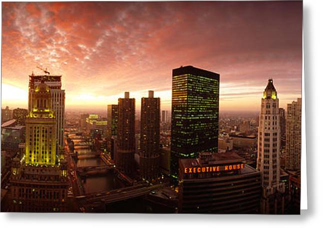 Reflections In River Greeting Cards - Sunset Cityscape Chicago Il Usa Greeting Card by Panoramic Images