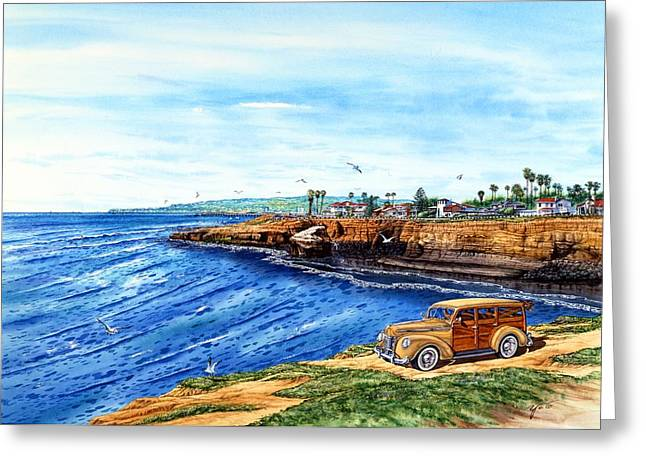 Point Loma Greeting Cards - Sunset Cliffs Ocean Beach Greeting Card by John YATO
