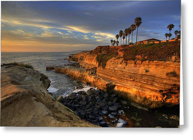 Cliffs Photographs Greeting Cards - Sunset Cliffs Greeting Card by Peter Tellone