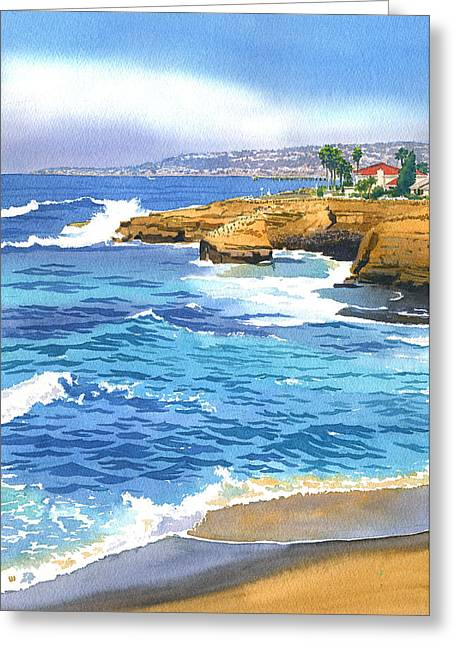 Cliffs Paintings Greeting Cards - Sunset Cliffs Point Loma Greeting Card by Mary Helmreich