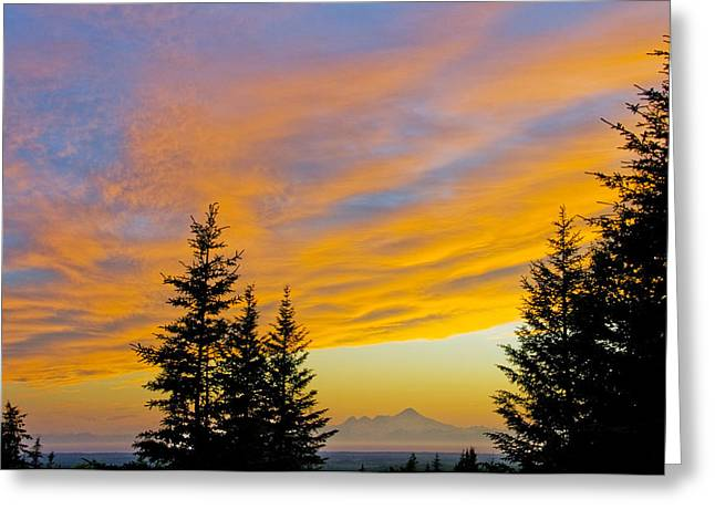 Colorful Cloud Formations Greeting Cards - Sunset Clouds Blaze Orange Over Iliamna Greeting Card by Bill Scott