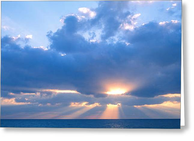 Sun Beams Sun Rays Greeting Cards - Sunset, Clouds, Gulf Of Mexico Greeting Card by Panoramic Images