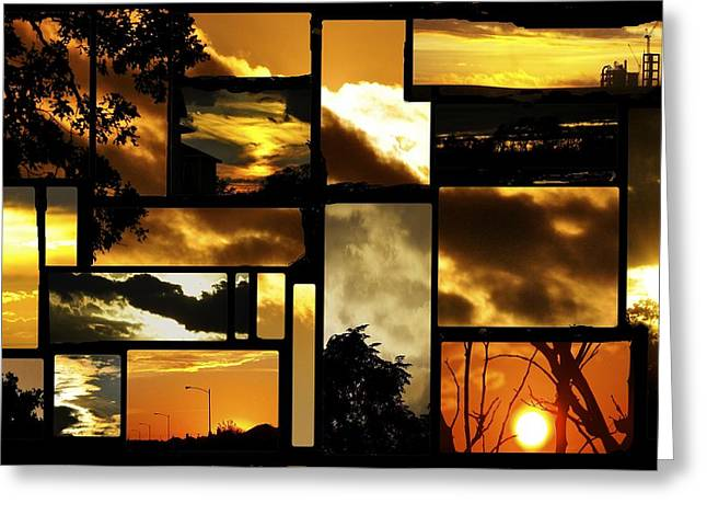Angela Castillo Greeting Cards - Sunset Collage Greeting Card by Cherie Haines
