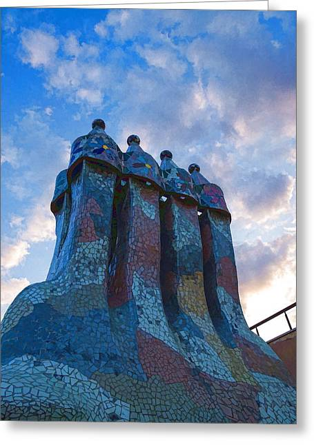 Gloaming Greeting Cards - Sunset Colored Chimneys - Impressions Of Barcelona Greeting Card by Georgia Mizuleva