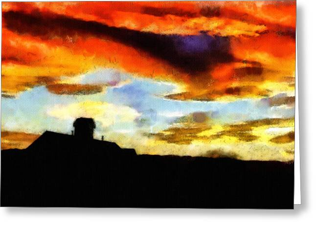 Violet Art Greeting Cards - Sunset Colours Greeting Card by Ayse Deniz