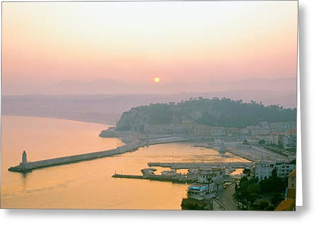 Historic Architecture Greeting Cards - Sunset Cote Dazur Nice France Greeting Card by Panoramic Images