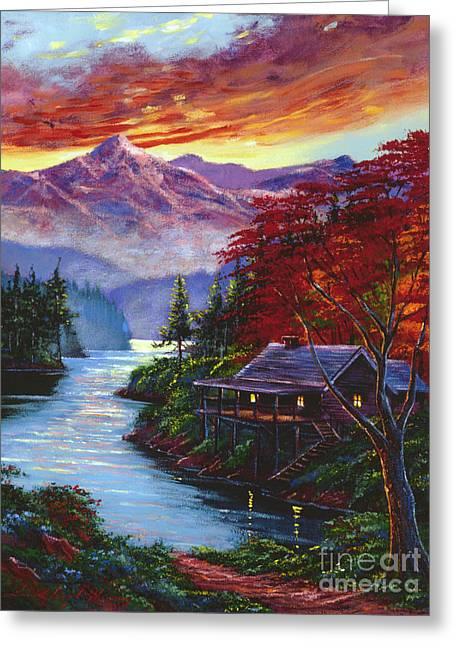 Sunset Cove Greeting Card by David Lloyd Glover