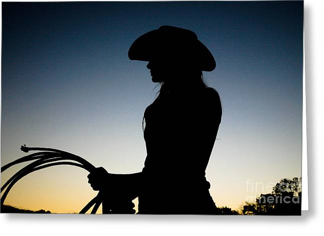 Pretty Cowgirl Greeting Cards - Sunset Cowgirl Greeting Card by Jt PhotoDesign