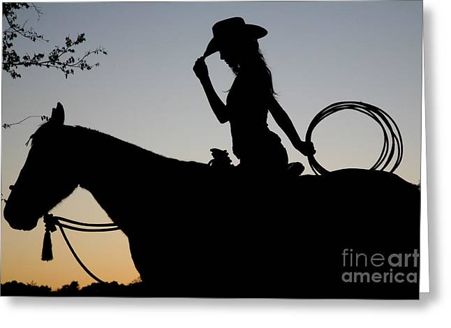 Pretty Cowgirl Greeting Cards - Sunset Cowgirl with Horse Greeting Card by Jt PhotoDesign