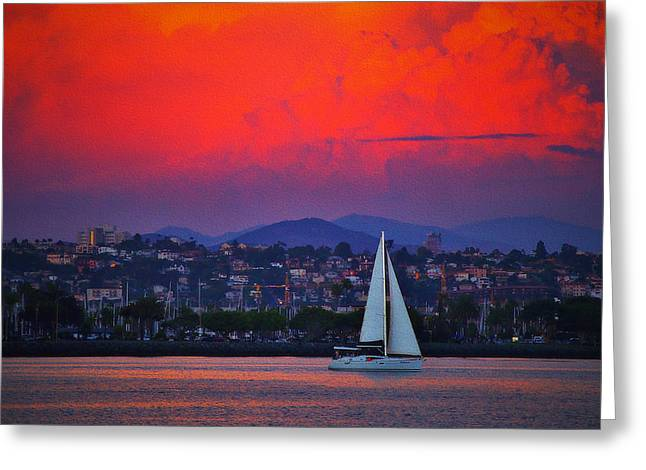San Diego Harbor Cruise Greeting Cards - Sunset Cruise Greeting Card by See My  Photos