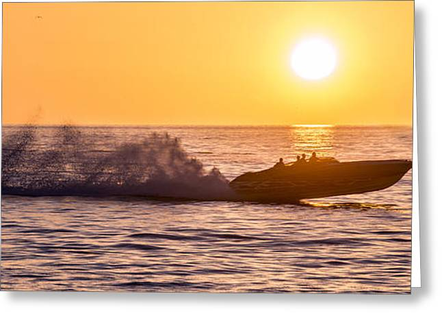 Speed Boat Greeting Cards - Sunset Cruise Greeting Card by Jon Neidert