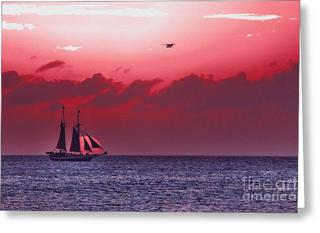 Yellow Sailboats Greeting Cards - Sunset cruise - Key West 3 Greeting Card by Claudia Mottram