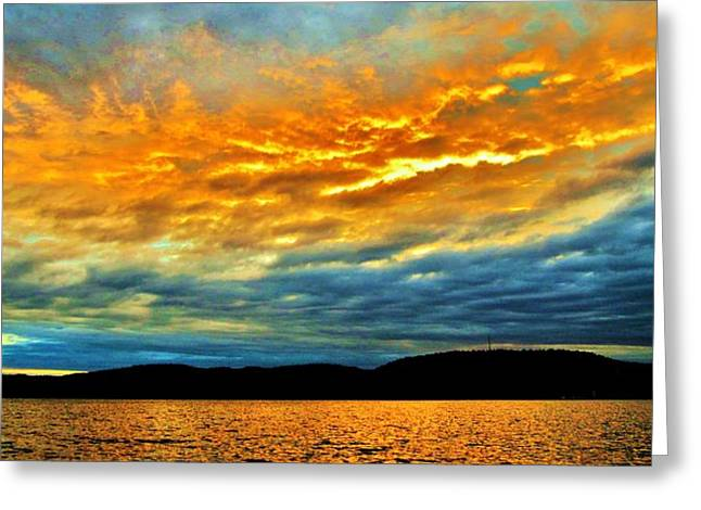 Golds Pyrography Greeting Cards - Sunset Cruise Greeting Card by Sharon Lemay