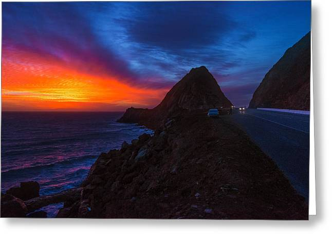 Coast Highway One Greeting Cards - Sunset Crusin on PCH Greeting Card by Lynn Bauer