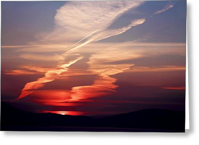 Colourful Sunsets Greeting Cards - Sunset Dance Greeting Card by Aidan Moran