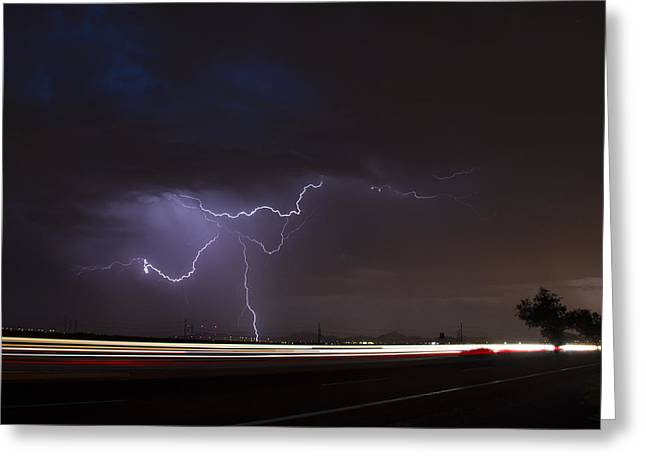 Arizona Lightning Greeting Cards - Sunset Dance Greeting Card by Cathy Franklin