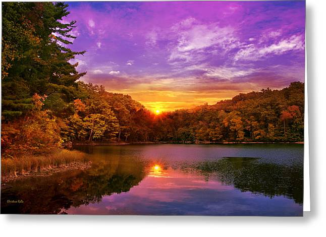 Sunset Greeting Cards Greeting Cards - Sunset Deluge Greeting Card by Christina Rollo