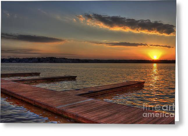 Crappies Greeting Cards - Sunset Docks on Lake Oconee Greeting Card by Reid Callaway