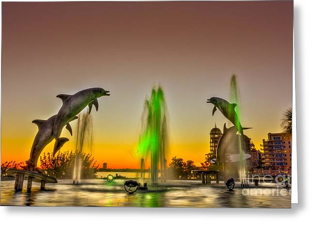 Bayfront Greeting Cards - Sunset Dolphins Greeting Card by Marvin Spates