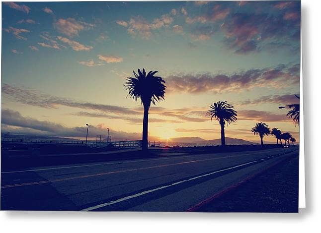 Driving Greeting Cards - Sunset Drive Greeting Card by Laurie Search