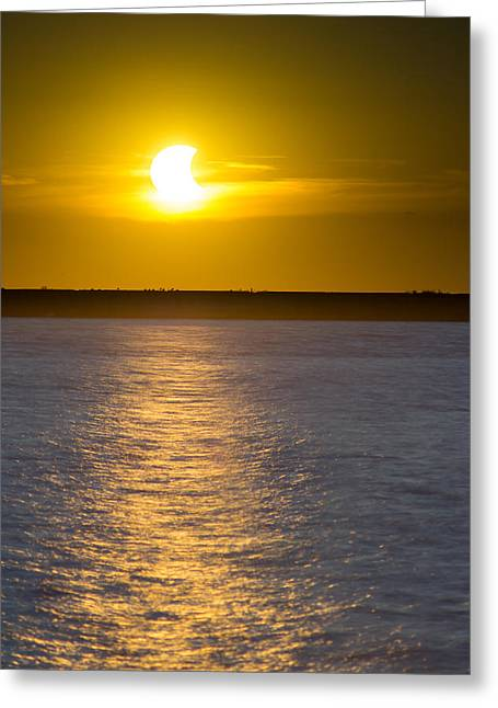 Mystic Setting Greeting Cards - Sunset Eclipse Greeting Card by Chris Bordeleau
