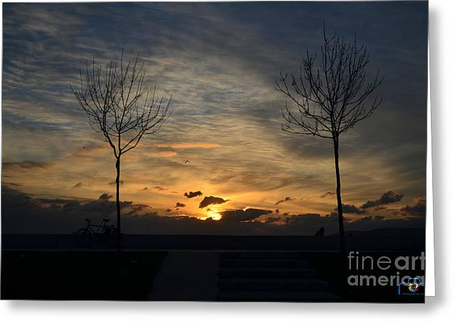 Istanbul Pyrography Greeting Cards - Sunset Greeting Card by Emrah  Duman