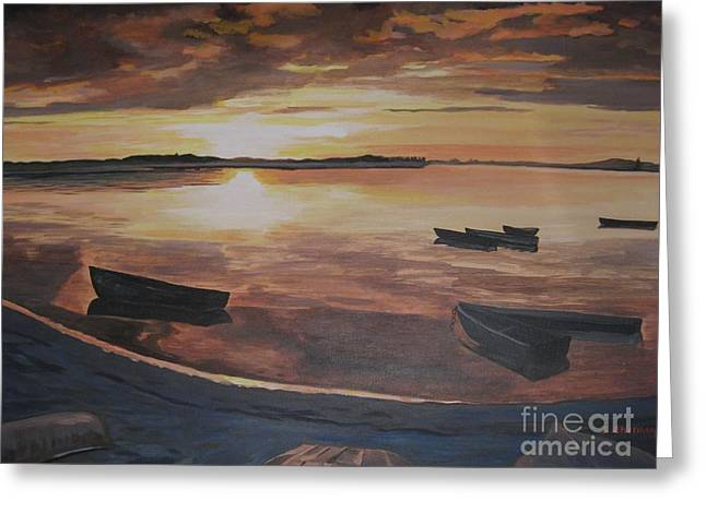 Stella Sherman Greeting Cards - Sunset Evening Tide Greeting Card by Stella Sherman