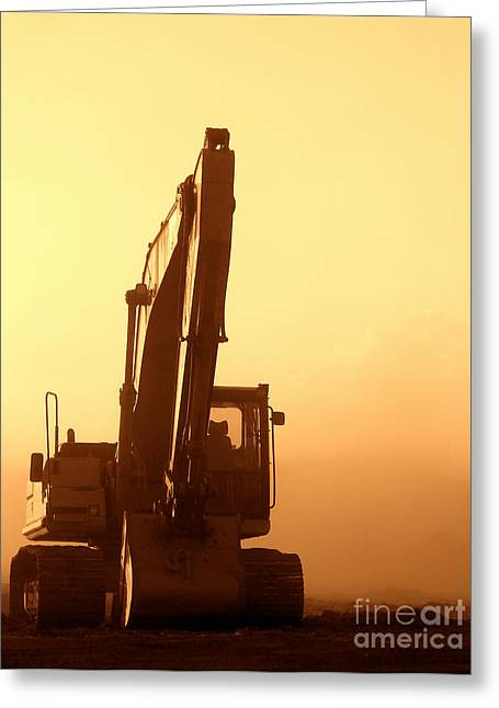 Duty Greeting Cards - Sunset Excavator Greeting Card by Olivier Le Queinec