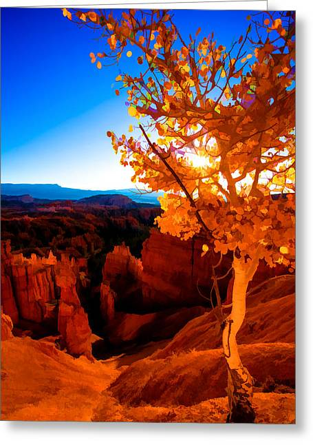 Hiking Greeting Cards - Sunset Fall Greeting Card by Chad Dutson