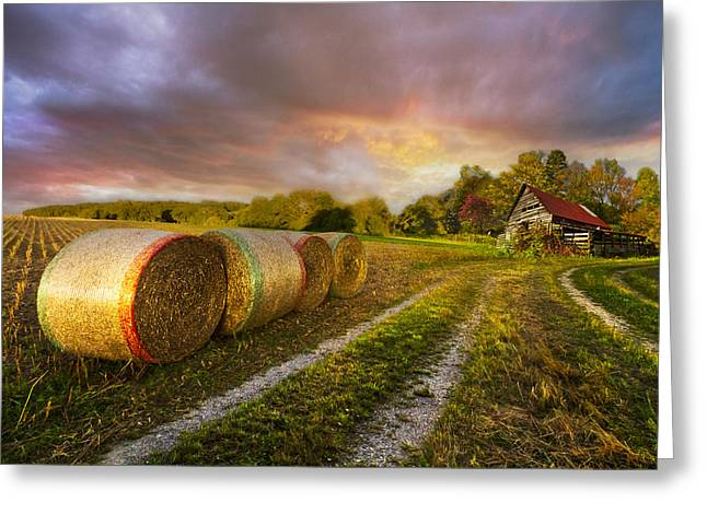 Swiss Photographs Greeting Cards - Sunset Farm Greeting Card by Debra and Dave Vanderlaan
