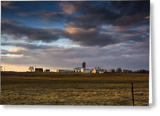 Shed Greeting Cards - Sunset Farm Greeting Card by Michael Huddleston