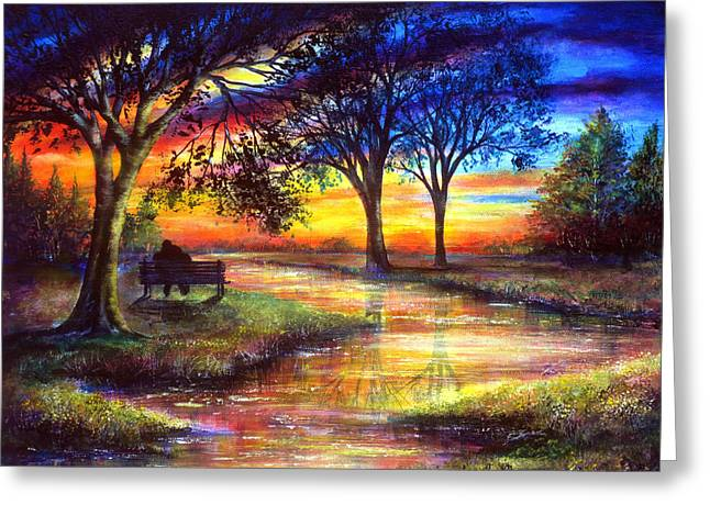 Kinkade Greeting Cards - Sunset Feeling Greeting Card by Ann Marie Bone