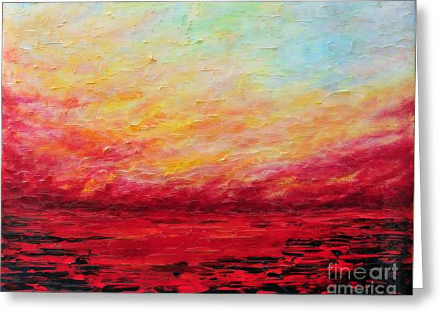 Sunset Abstract Greeting Cards - Sunset Fiery Greeting Card by Teresa Wegrzyn