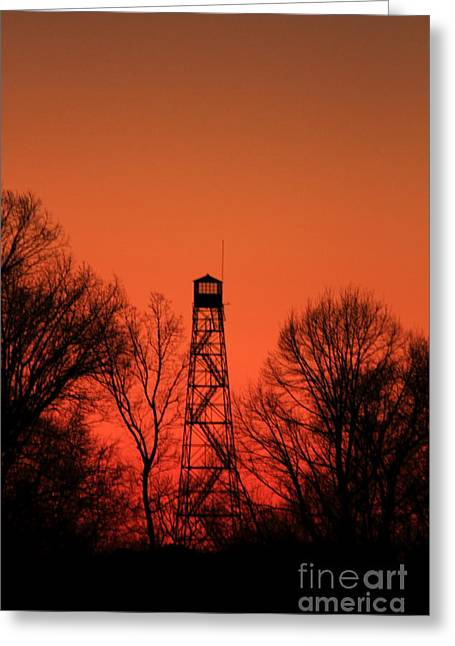 Forestry Commission Greeting Cards - Sunset Fire Tower in Oconee County Greeting Card by Reid Callaway