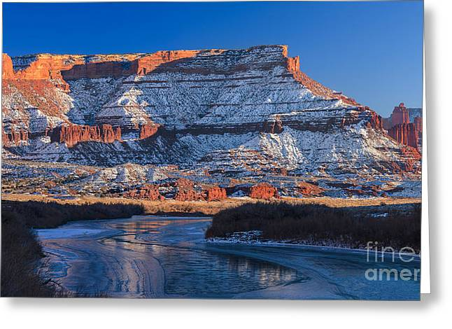 Framed Winter Snow Print Greeting Cards - Sunset Fisher Towers Greeting Card by Henk Meijer Photography