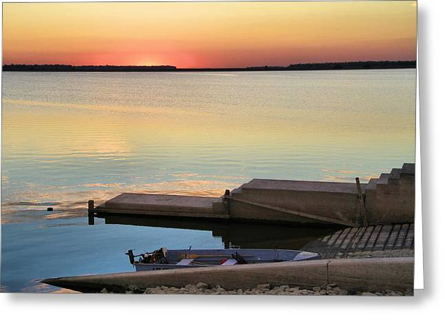 Canoe Photographs Greeting Cards - Sunset Fishing Greeting Card by Dan Sproul