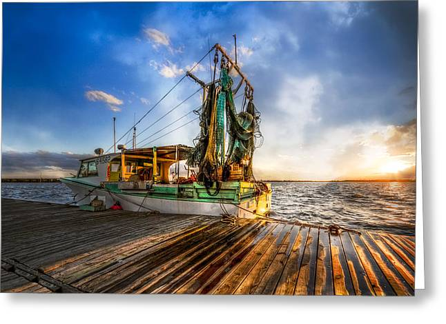Boats At The Dock Greeting Cards - Sunset Fishing Greeting Card by Debra and Dave Vanderlaan