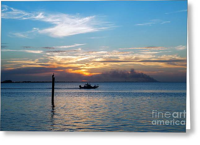 South Padre Island Texas Greeting Cards - Sunset Fishing Greeting Card by Tammy Smith