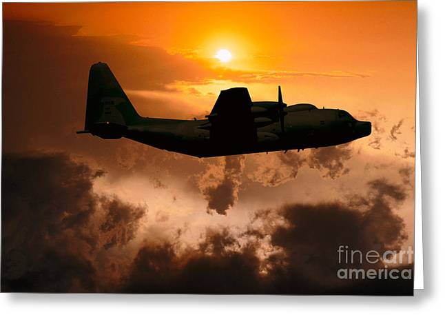 Best Sellers -  - Fixed Wing Multi Engine Greeting Cards - Sunset Flight C-130 Greeting Card by Wernher Krutein