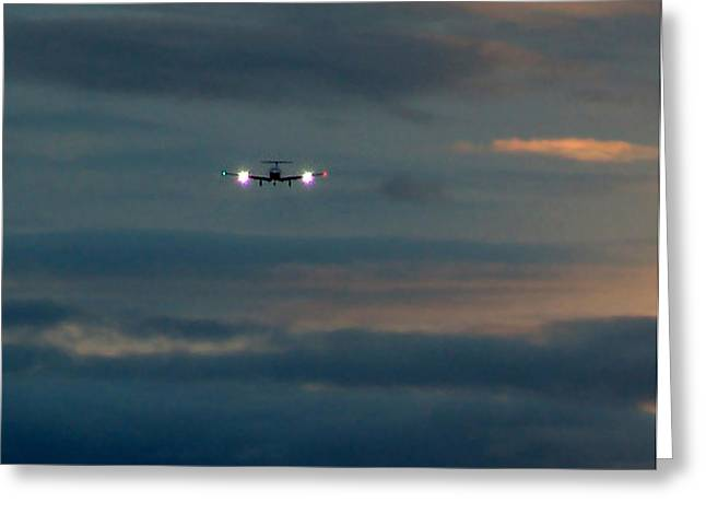 Commuter Plane Greeting Cards - Sunset Flight Greeting Card by George Cousins