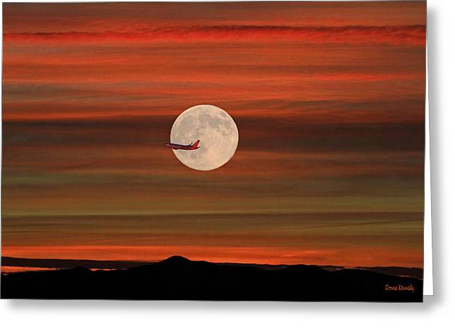 Canon 7d Greeting Cards - Sunset Flight With Full Moon Greeting Card by Donna Kennedy