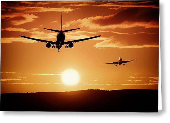Beautiful Landing Greeting Cards - Sunset Flights Greeting Card by Mountain Dreams