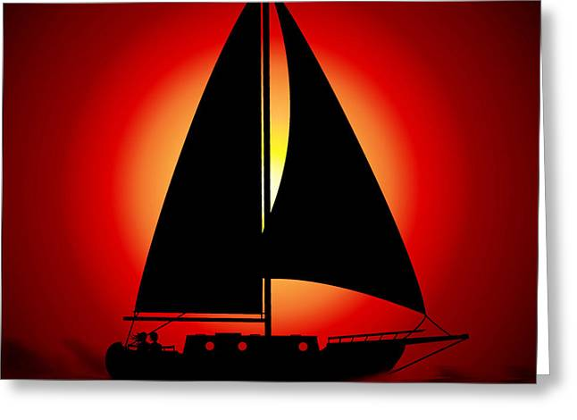 Yellow Sailboats Digital Art Greeting Cards - Sunset for Two Greeting Card by Kiki Art