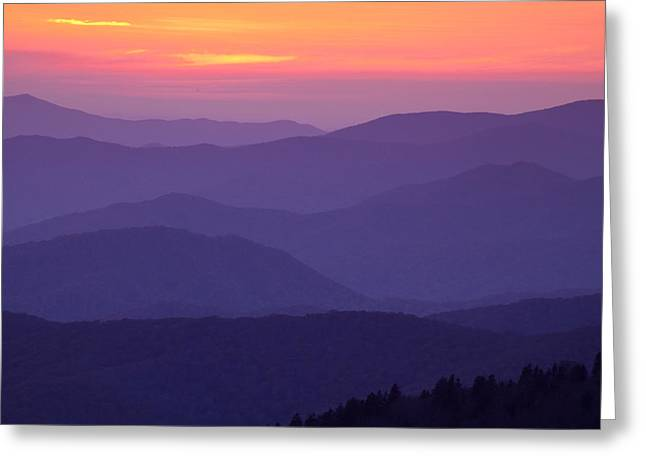 Clingmans Dome Greeting Cards - Sunset from atop the Smokies Greeting Card by Andrew Soundarajan