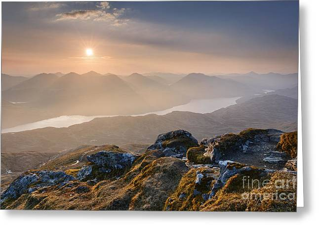 Scottish Highlands Greeting Cards - Sunset from Ben Lomond Greeting Card by Rod McLean
