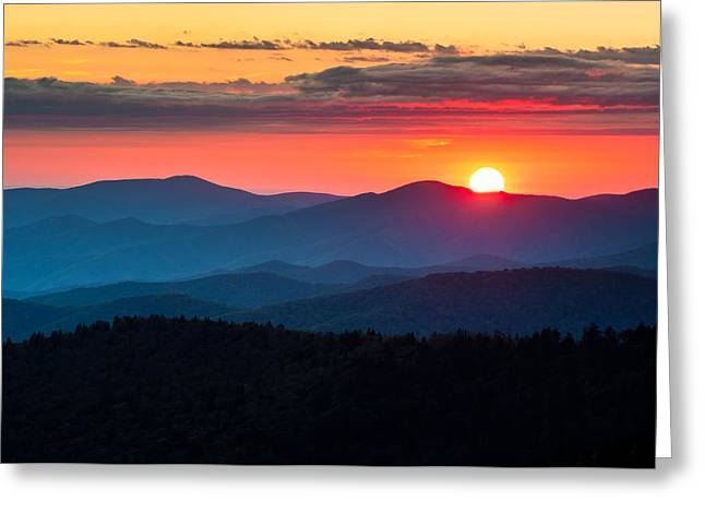 Clingmans Dome Greeting Cards - Sunset from Clingmans Dome - Great Smoky Mountains Greeting Card by Dave Allen