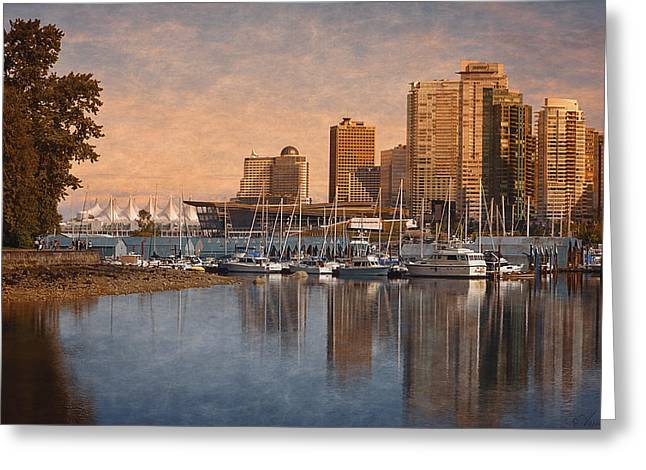 North Vancouver Digital Greeting Cards - Sunset From Stanley Park - Vancouver Greeting Card by Maria Angelica Maira