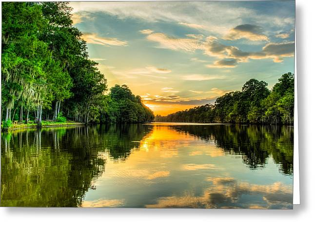 Cypress Trees Greeting Cards - Sunset from the pier Greeting Card by Geoff Mckay